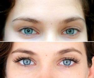 Classic eyelash extensions, before and after